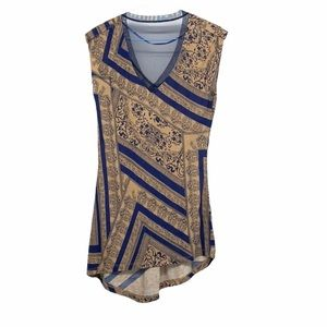 Le chateau blue and bronze sheer back tunic